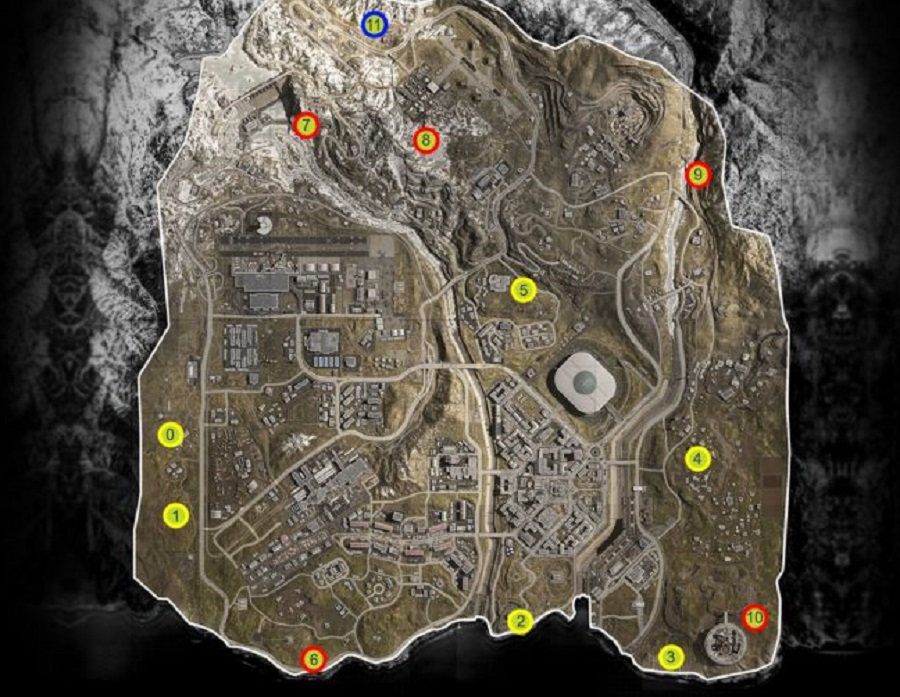 Warzone bunker locations map - Warzone bunker codes